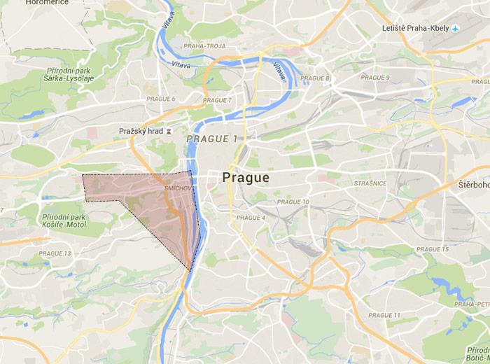Smíchov map