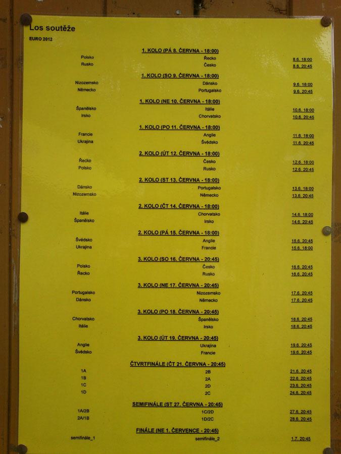 Riegrovy Sady Euro 2012 Match Schedule